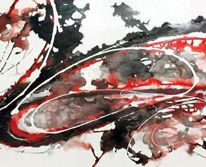 black and red abstract art