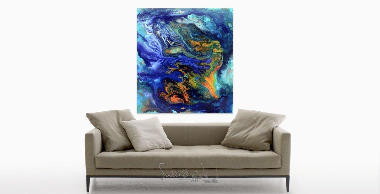 Blue art and beige sofa