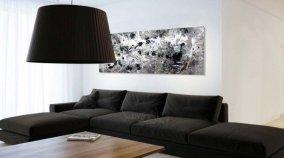 Contemporary black sofa in a modern room