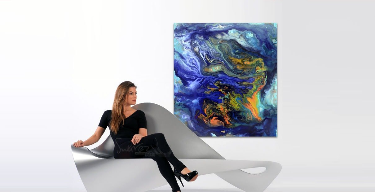 Girl on sofa and blue painting