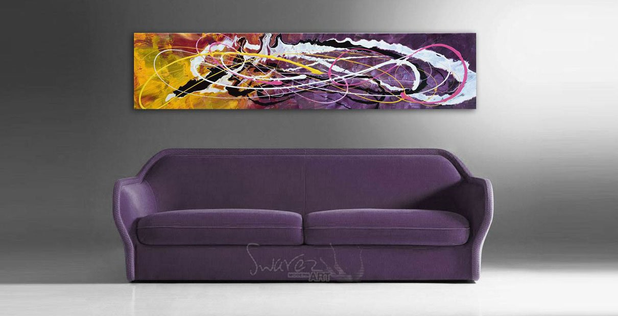 Purple sofa and a purple and yellow art work