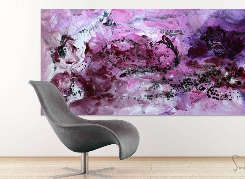 Black and purple painting and a curved chair