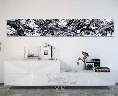 Black-and-white-painting-above-a-console