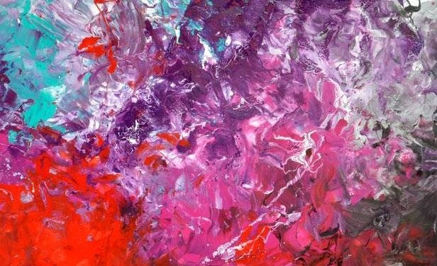 Large red and purple art