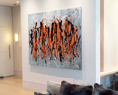 orange black drip painting