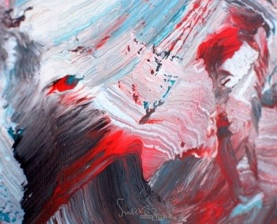 Red and turquoise art