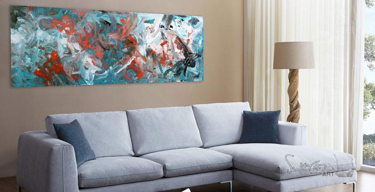 Grey sofa and turquoise and red painting