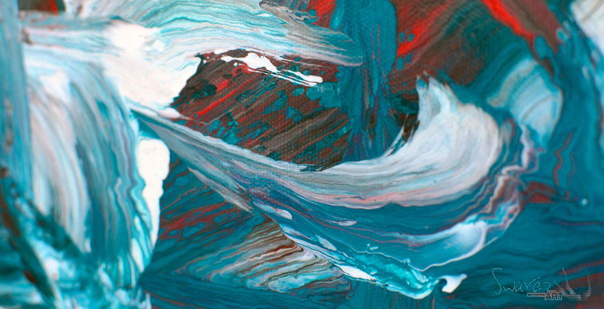 Turquoise paints on canvas