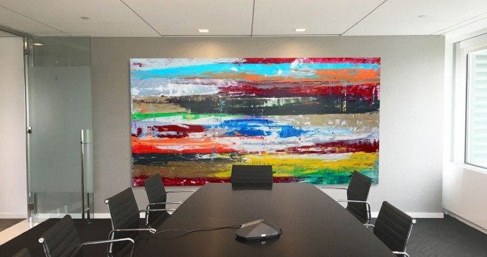 Very big artwork in a confernece room in New York