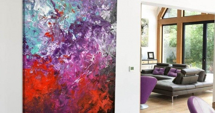 purple and red painting