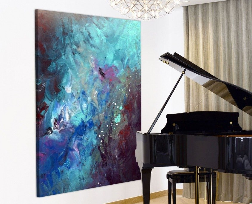 Big aqua blue and purple painting