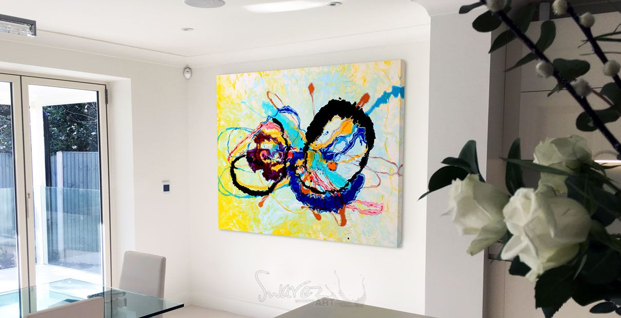 Colourful abstract art painting quantum rainbow swarez for Abstract art for dining room