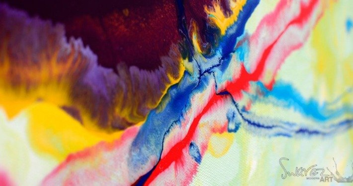 Details of a colourful abstract painting