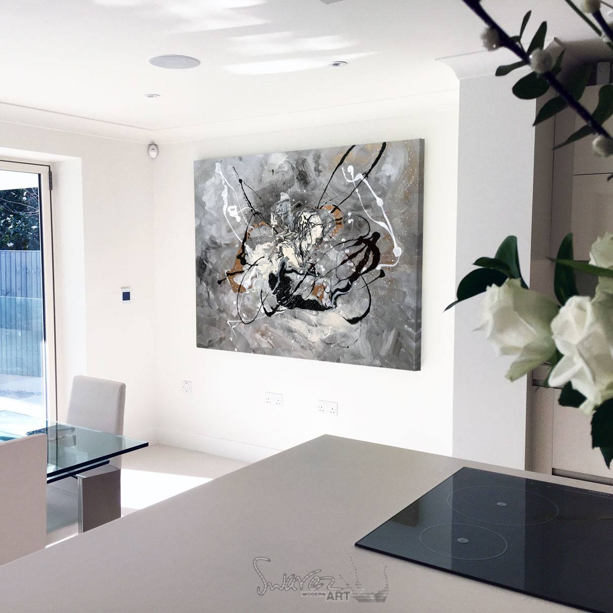 Black and white abstract art grace under pressure swarez for Black white and gold kitchen