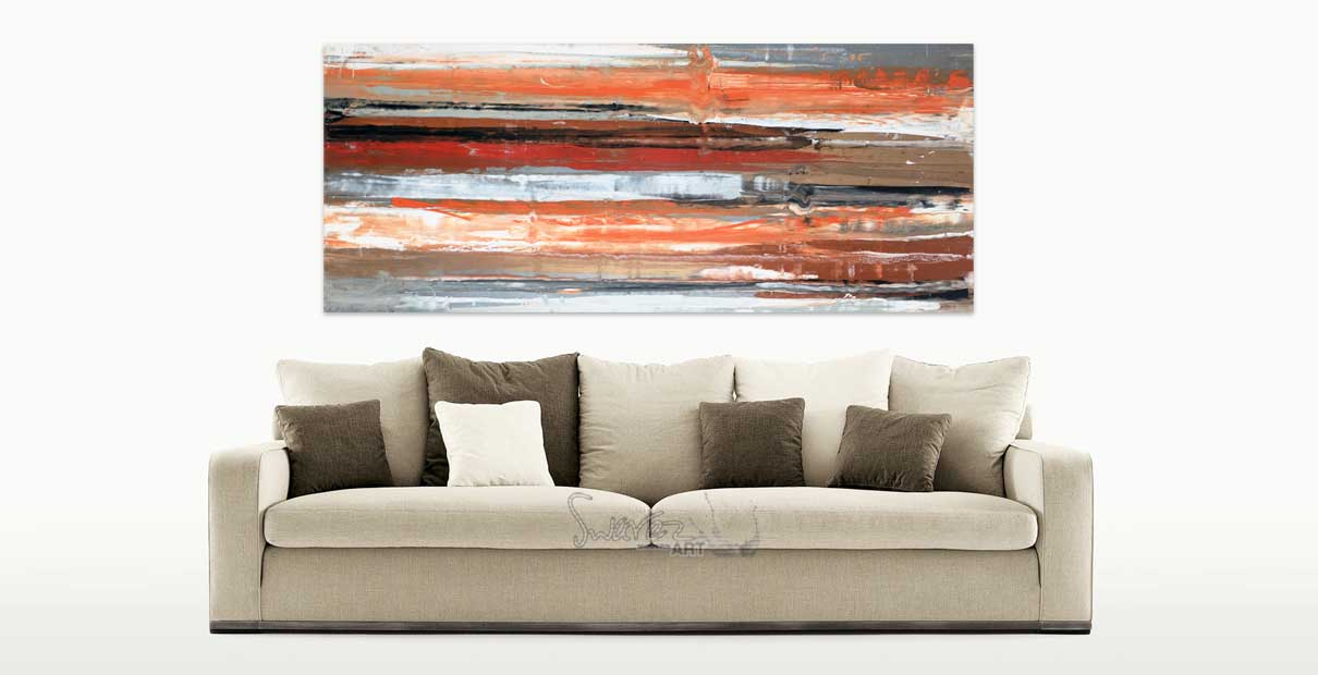 Brown, red and cream art original and a sofa