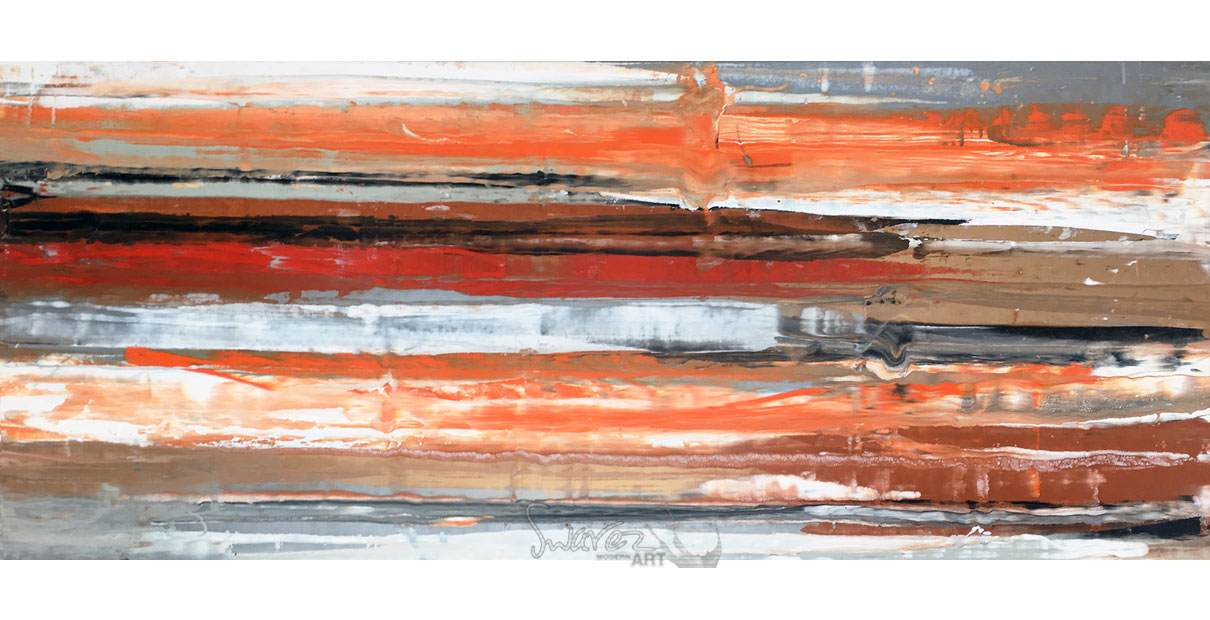 Large orange and red painitng Stratum Interruptous Swarez Art