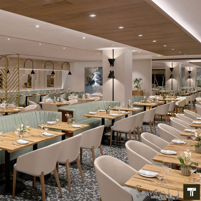 View of the main dining room at Theo Randall restaurant