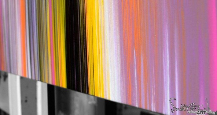 Black orange and pink stripes of paint