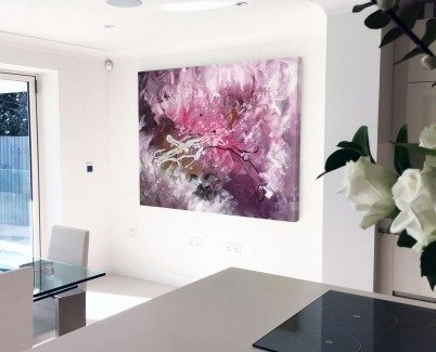 Large pink art in a modern kitchen
