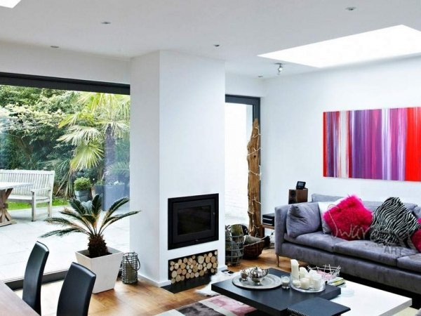 Living space with bi-fold doors