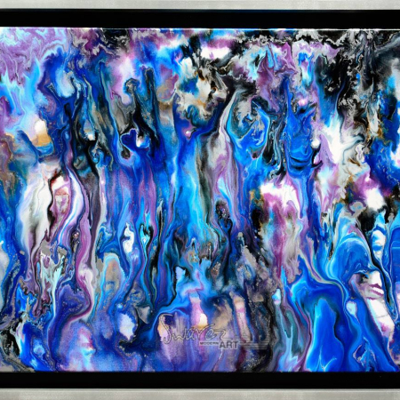 Blue and silver art in a silver frame