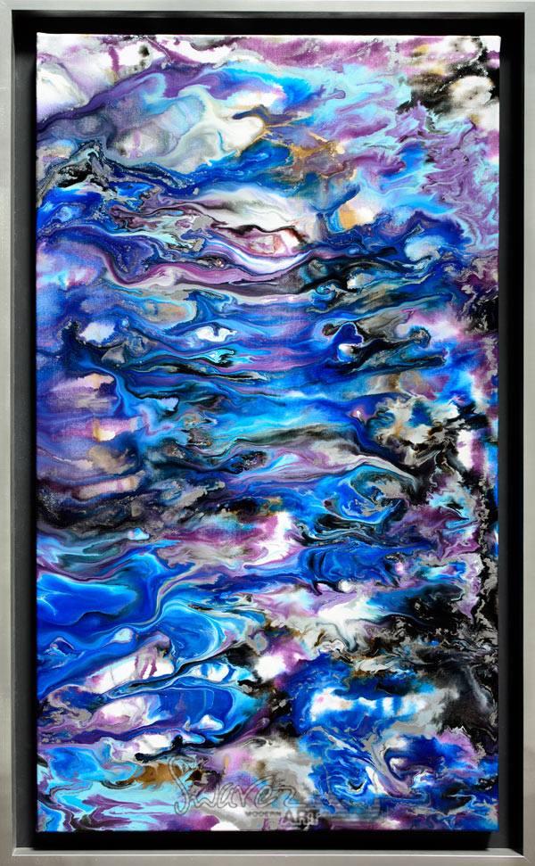 Silver framed blue abstract art