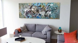 blue gold art in living space
