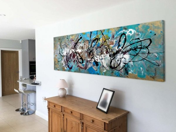 art with wood console table