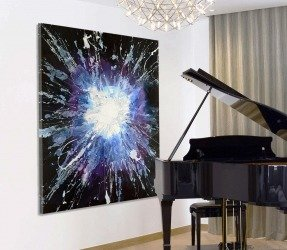 Black white and blue star burst painting with a grand piano