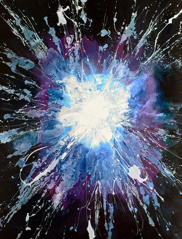 A blue and black painting like an exploding star