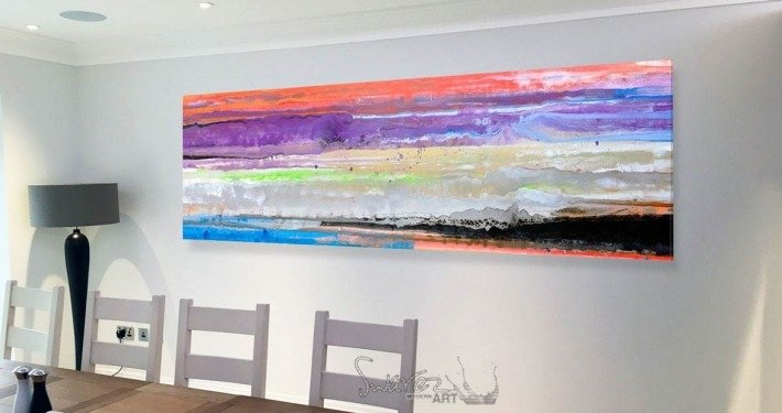 Abstract striped art in a dining room