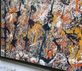 Close up details of a replica of Jackson Pollock's Blue Poles