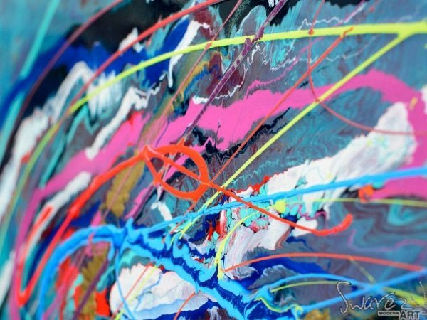 Pink and blue loops of paint