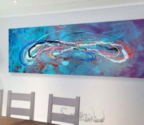 Blue green painting called Neptune 5 hanging in a white dining room