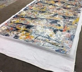 Drying a lrge canvas on an electric blanket