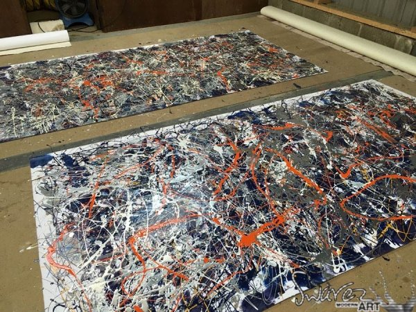 Two Pollock-inspired canvases