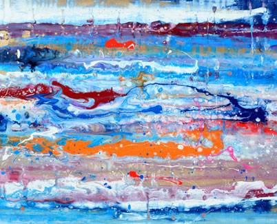 Blue and orange art called 'Reach For The Stars'