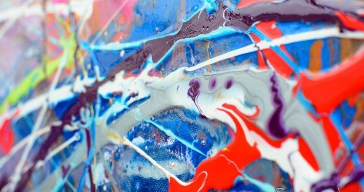 Swirling colours of paint
