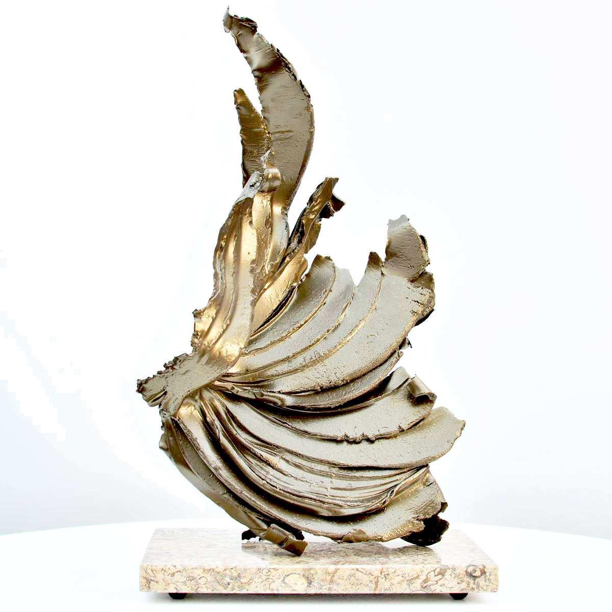 Metal sculpture in gold
