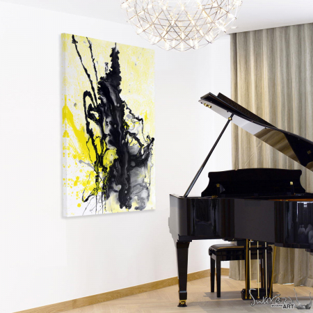 Small asbtract original art hanging next to a piano