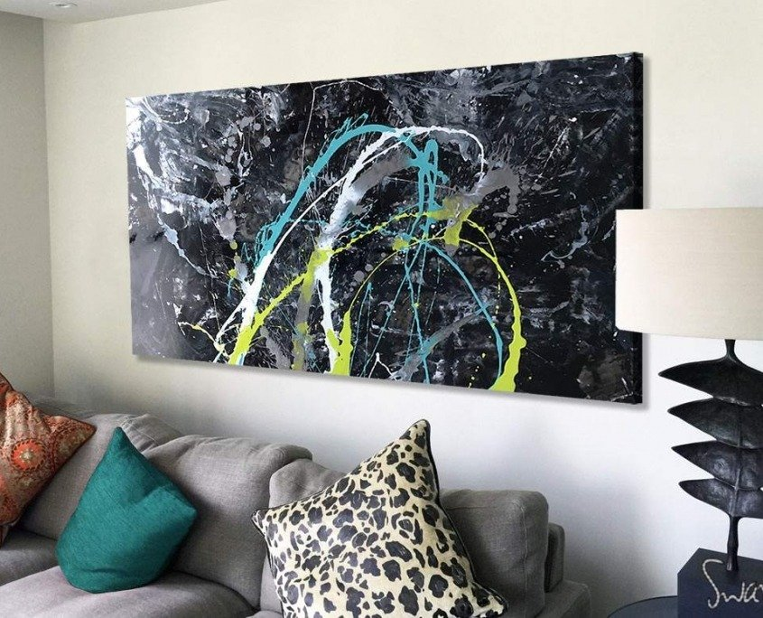 Black original abstract art with lime and green accents