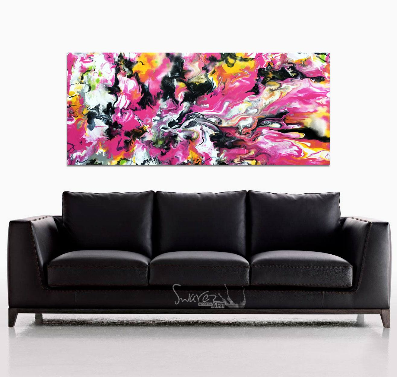Black sofa and pink art