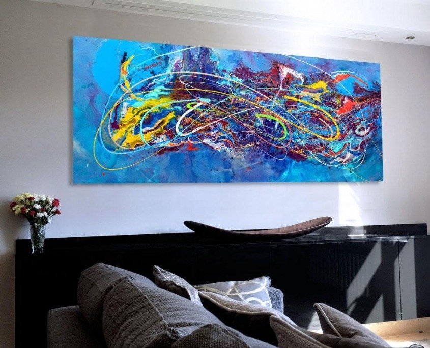 Blue modern art in a living room