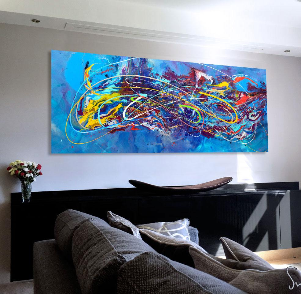 Blue modern art for sale 39 out of the blue 39 original large for Original modern art for sale