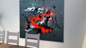 Large landscape black painting