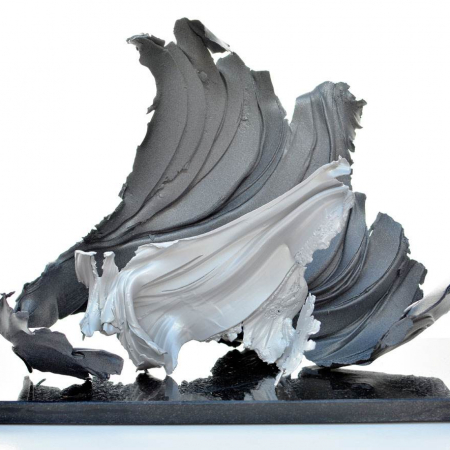 Two piece grey and white metal sculpture