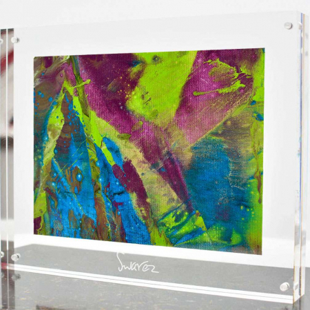 Green and purple abstract painting