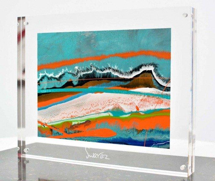 Turquoise and orange canvas