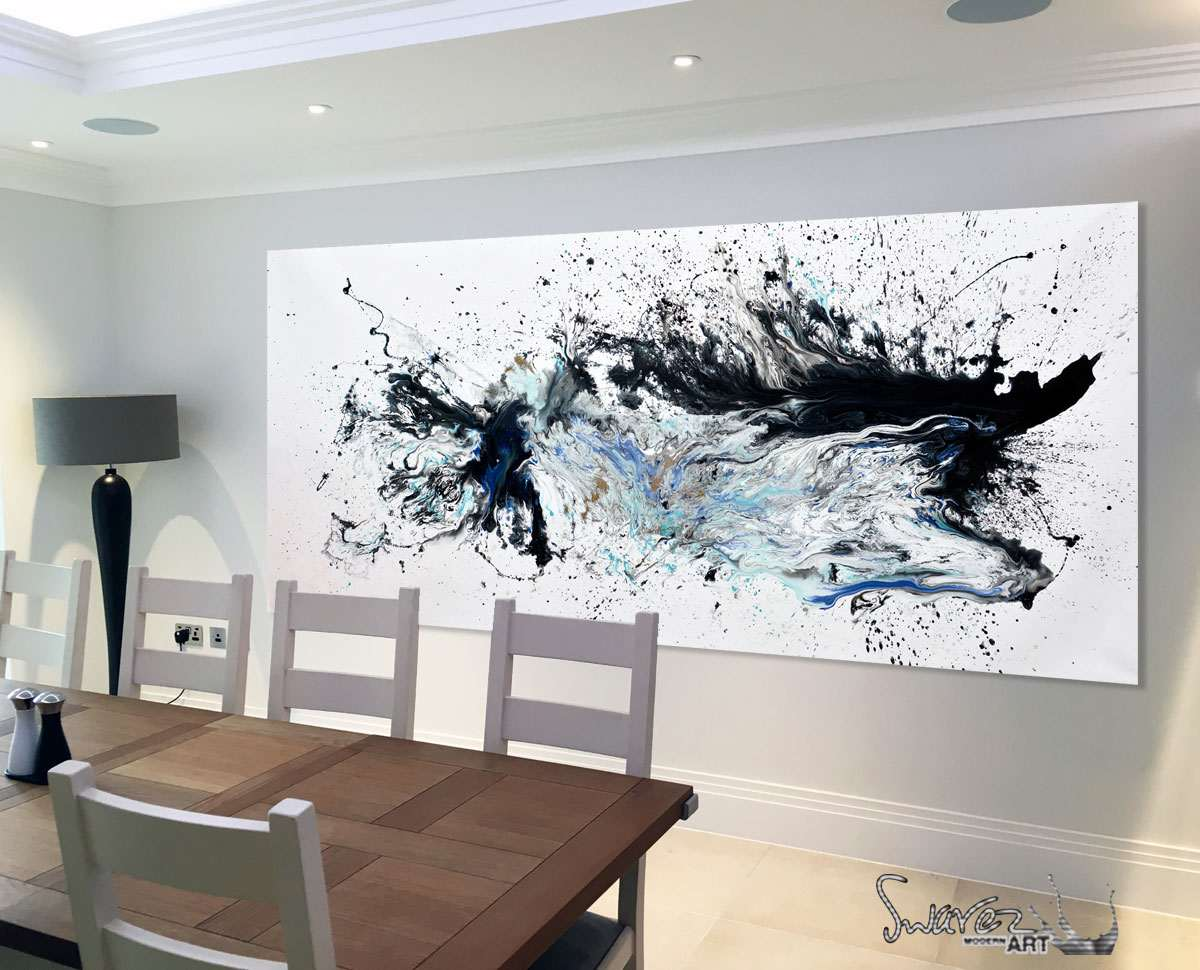 Large black and white abstract painting with blue and for Dining room paintings sale