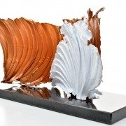 Copper and white coloured aluminium sculpture